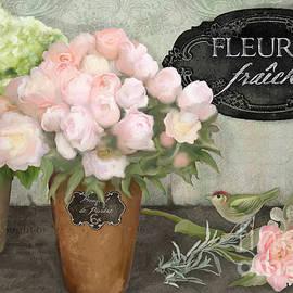 Audrey Jeanne Roberts - Marche aux Fleurs 2 - Peonies n Hydrangeas w Bird