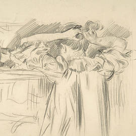 Maria Van Rysselberghe Arranging Her Hair before a Mirror - Theo Van Rysselberghe