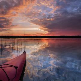 Marl Lake Kayak Sunset Reflections by Ron Wiltse