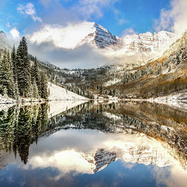 Maroon Bells at Sunrise - Aspen Colorado 1x1 by Gregory Ballos