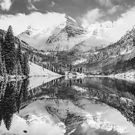 Maroon Bells Monochrome Mountain Landscape - Aspen Colorado by Gregory Ballos
