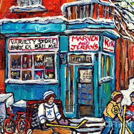 Marven And Jerry Park Ex Corner Store Paintings For Sale Hockey Art Winterscenes Montreal C Spandau  by Carole Spandau