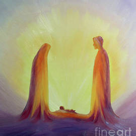Mary and Joseph look with faith on the child Jesus at his Nativity - Elizabeth Wang