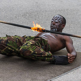 Clare Bambers - Masai Dancer with Fire Limbo