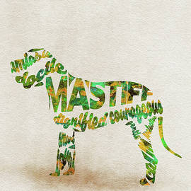 Mastiff Dog Watercolor Painting / Typographic Art - Ayse and Deniz