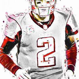 Matt Ryan Qb Falcons Painting Digital by David Haskett II