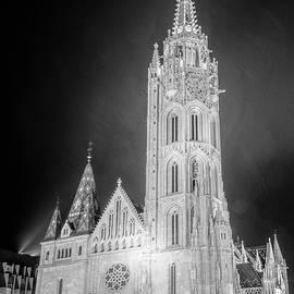 Joan Carroll - Matthias Church Budapest Hungary Night BW