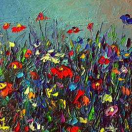 Ana Maria Edulescu - MEADOW DAWN COLORFUL WILDFLOWERS abstract impressionism impasto knife painting by Ana Maria Edulescu