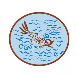 Aloysius Patrimonio - Medieval Fish Swimming Oval Retro