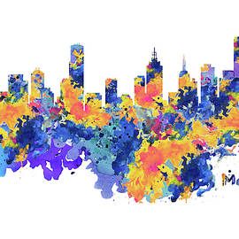 Melbourne Watercolor Skyline - Marian Voicu