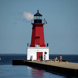 Thomas Woolworth - Menominee Pierhead Lighthouse Wisconsin With Sail Boat