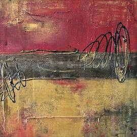 Liz Moran - Metallic Square Series I - Red and Gold Urban Abstract Painting