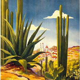 Mexico - Cactus With Mexican Village - Retro travel Poster - Vintage Poster - Studio Grafiikka