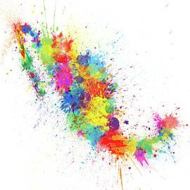 Mexico Paint Splashes Map - Michael Tompsett