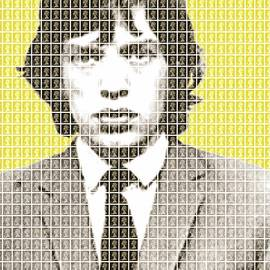 Mick Jagger Mug Shot - Yellow by Gary Hogben