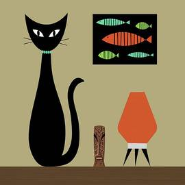 Donna Mibus - Shower Curtain Tabletop Cat