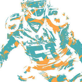 Mike Pouncey MIAMI DOLPHINS PIXEL ART 1 - Joe Hamilton