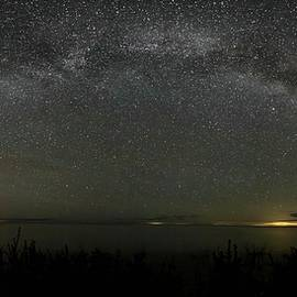 Milky Way Over Lake Michigan At Cana Island Lighthouse by Paul Schultz