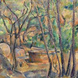 Millstone and Cistern under Trees - Paul Cezanne