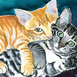 Milo and Tigger - Cute Kitty Painting by Dora Hathazi Mendes