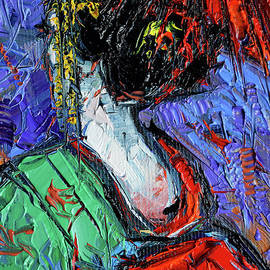 Mona Edulesco - Miniature Geisha impasto palette knife oil painting on canvas