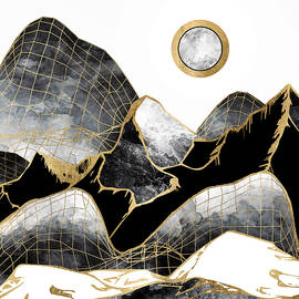 Spacefrog Designs - Minimal Black and Gold Mountains