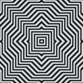 Philipp Rietz - Minimal Geometrical Optical Illusion Style Pattern in Black White T-Shirt