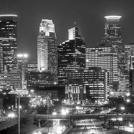 Minneapolis city skyline at night by Jim Hughes