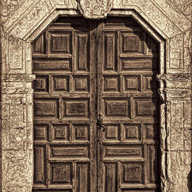 Mission Concepcion Doors - Sepia w Border by Stephen Stookey