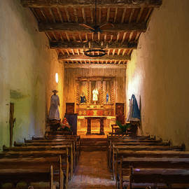 Mission San Juan Capistrano Chapel Vertical Painterly by Joan Carroll