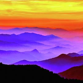 Misty Mountains Sunset by Susan Maxwell Schmidt