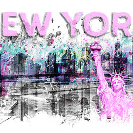 Modern Art NEW YORK CITY Skyline Splashes - pink - Melanie Viola
