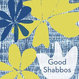 Linda Woods - Modern Floral Good Shabbos- Art by Linda Woods