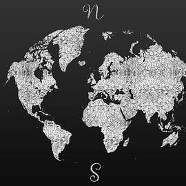 MODERN GRAPHIC ART World Map - silver - Melanie Viola