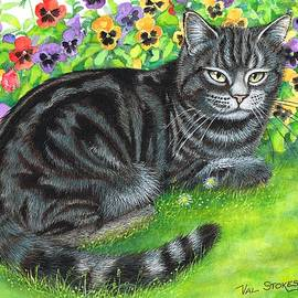Val Stokes - Moggy in the pansies