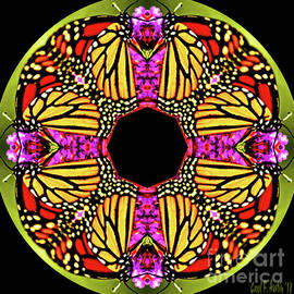 Mandala Monarch Butterfly Kaleidoscope Abstract Garden Wall Art by Carol F Austin