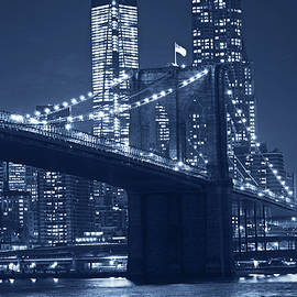 Toby McGuire - Monochrome Blue Brooklyn Bridge from Empire Fulton Ferry State Park