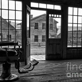 Montana Ghost Town Barber Chair Black And White by Adam Jewell