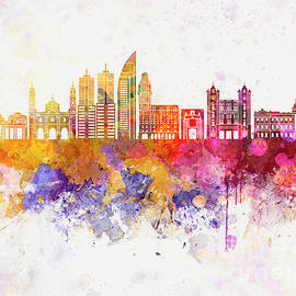 Pablo Romero - Montevideo skyline in watercolor background