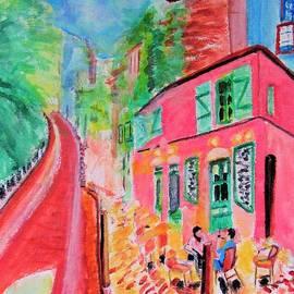 Montmartre Cafe In Paris by Stanley Morganstein