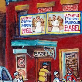 Carole Spandau - Montreal Art Fairmount Bagel Paintings For Sale Canadian Hockey Street Scene C Spandau Quebec Artist