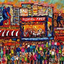 Montreal International Jazz Festival Painting Live Jazz Band Outdoor Music Concert Scene C Spandau  by Carole Spandau