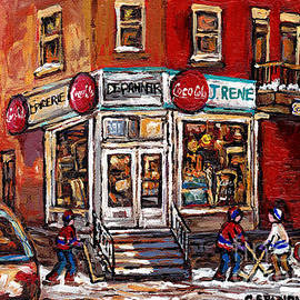 Montreal Night Scene Street Hockey Painting Depanneur J Rene Rue Villeneuve And Grand Pre Best Art by Carole Spandau