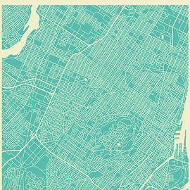MONTREAL STREET MAP - Jazzberry Blue