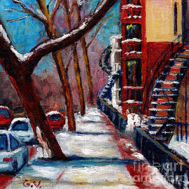 Montreal Winter Street Scene Painting Winter In The City  by Grace Venditti