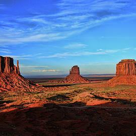 Monument Valley 20 - West Mitten , East Mitten, and Merrick Butte Sunset by Allen Beatty