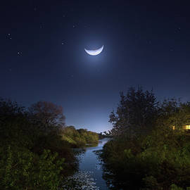 Moon Over Alligator Creek by Mark Andrew Thomas