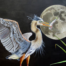 Phyllis Beiser - Moon Over Mississippi A Hunting Blue  Herons Perspective