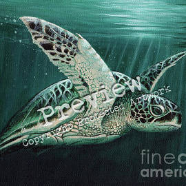 Amber Marine - Moonlit Green Sea Turtle
