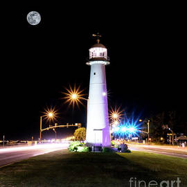 Moonlit Gulf Coast Lighthouse Seascape Biloxi Ms 4256b by Ricardos Creations
